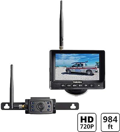 $239 Get Haloview MC5111 5'' 720P HD Digital Wireless Backup Camera System 5'' LCD Rear View Monitor and IP69K Waterproof Reversing Built in DVR Kit for Trucks/Trailer/Bus/RVs/Pickups/Camper/Vans