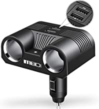 MEIDI 80W 2-Socket Cigarette Lighter Adapter 12V/24V DC Outlet Splitter with 3.4A Dual USB Car Charger Compatible iPhone iPad Android Samsung GPS Dash Cam and More (Black)