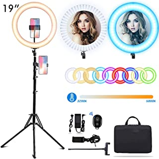 EEIEER RGB Ring Lights: 19-inch 55W Selfie Ring Light with Stand, LED Circle Light, RGB dimmable Light Stand, Carrying Bag for Photography, Makeup, YouTube Video Shooting