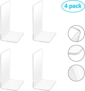 2 Pairs/4 Pieces Plastic Acrylic Bookends with Round Corner, Clear Bookends for Books, Movies, DVDs, Magazines, Perfect for Bedroom Bookshelf Library School Office, Transparent, 7.3 x4.8 inch