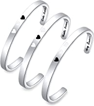 ENSIANTH Sister Bracelet Big Middle Little Sister Cuff Bracelet of 3 Sister Jewelry Gift for Best Bitches