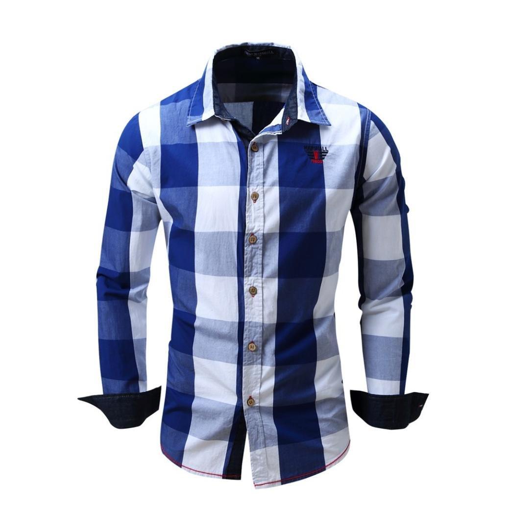 Camisas hombre Camisa de manga larga de algodón del dril de algodón cuadros solapa Mejores cuadros Fit Slim, YanHoo® camisas hombre comprar Casual para hombre manga larga camisa del negocio (Azul, M):