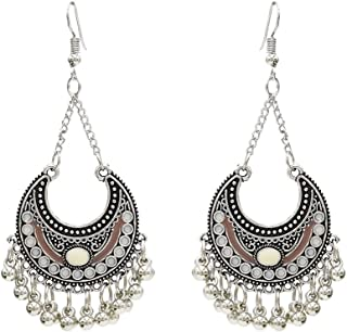 YAZILIND Retro Owl Feather Earrings Exaggerated Circle Fishhook Drop Dangle Jewelry Gift