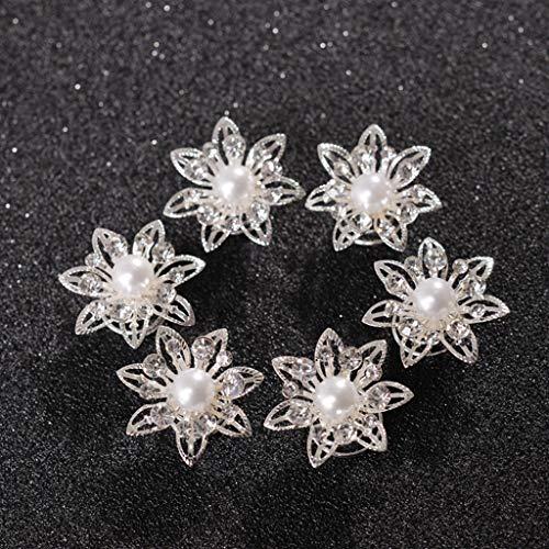 niumanery Women Bridal Pearl Diamante Crystal Flower Hair Twists Swirls Hairpins Spirals Flower Hairwear Jewelry Hair Accessories 12#