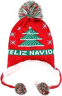 Girls Boys Winter Knit Hats Fleece Lined Kids Christmas Caps with Warm Earflap Fuzzy Peruvian Hat