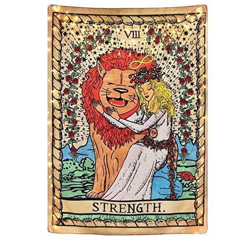 Tapiz de tarot The Strength Tarot Cards Tapiz, con texto en inglés 'Bravely Girl Appeasing Lion Tapiz de adivinación para habitación