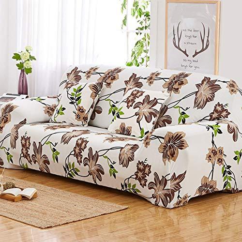 WEDZB Sofa hoes,Bloemmotief Elastische stretch Universele bankhoezen Sectionele sierbank Hoekhoes Koffers voor meubels Fauteuils Woondecoratie, 7,1-zits