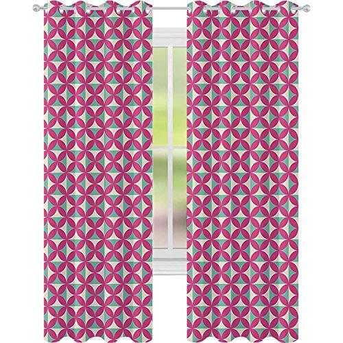 Cortinas opacas impresas, diseño de azulejos de cocina antigua, imagen retro con formas florales, 52 x 63 con ojales para sala de estar, verde helecho, rosa fuerte y rosa claro