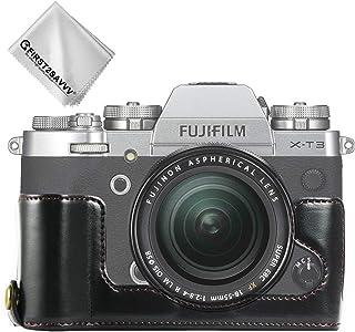 First2savvv Negro Funda Cámara Cuero de la PU cámara Digital Bolsa Caso Cubierta para Fuji Fujifilm X-T3 XT3 XJD-XT3-D01G11