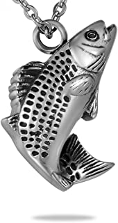 HooAMI Cremation Jewelry Fish Pendant Memorial Urn Necklace for Ashes
