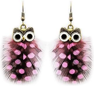 Fashion Handmade Owl Pattern Peacock Feathers Earrings (DAR0000244)
