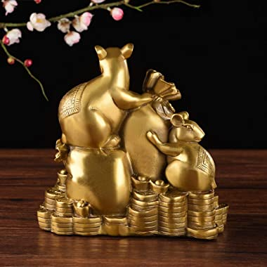 Chinese Fengshui Handmade Brass Mouse Rats Statue Golden Wealth Figurine Home Decor Collectible Figurine Gift ZD155