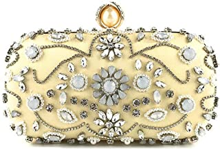 SGJFZD Women's Beaded Embroidered Fashionable Pearl Craft Retro Party Wedding Handle Shoulder Bag (Color : Gold, Size : 18.5 * 7 * 10cm)