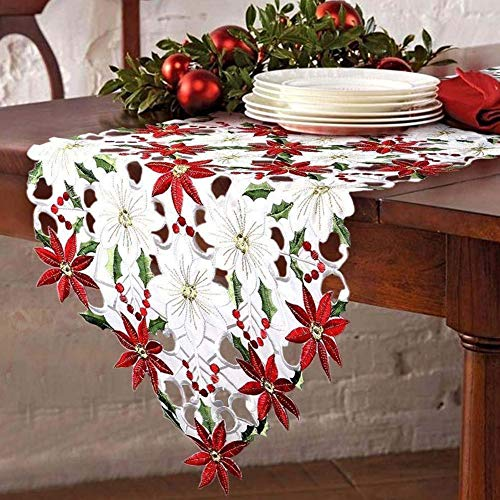 Embroidered Valentines Day Table Runner Valentines Day Table Decorations Farmhouse Style Table Poinsettia Holly Leaf Linens Table Cloth Home Table Decoration Xmas Valentines Day Party Supplies 1Pcs