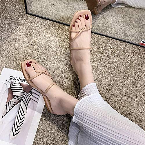 YYFF Zapatillas de Estar por Casa,Wear Flat Sandals and Flip Flops-Pink_38,Sandalia Mujer