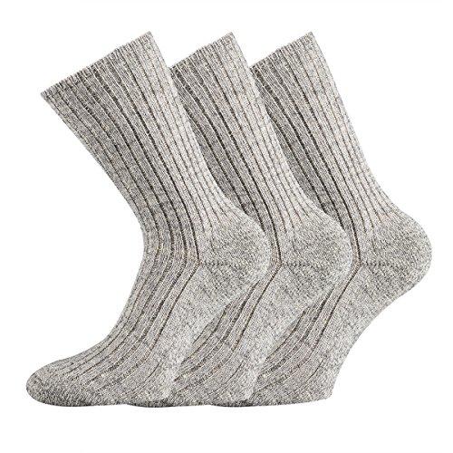 FussFre&e 3 Paar Schafwolle Socken 100prozent Wolle Norweger 43/46 grau