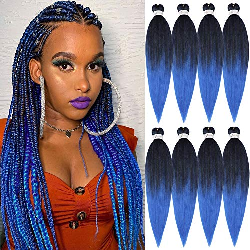Pre-stretched Braiding Hair Yaki Texture Kanekalon Braids Hair 20 Inch 8 Packs/Lot Synthetic Hair for Easy Braids Itch Free Ombre Black to Blue (1B/Blue)