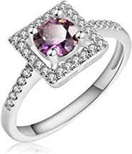 Anni Coco Engagement Wedding Jewelry Women Lady Girl White Gold Plated Round Cut Cubic Zirconia CZ Ring