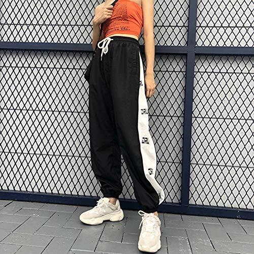 YSDSBM Pantalones de harén Streetwear empalmados Pantalones de chándal y Pantalones de chándal Estampados con Letras Negros Pantalones de Cintura Alta Sueltos Ocasionales Negros