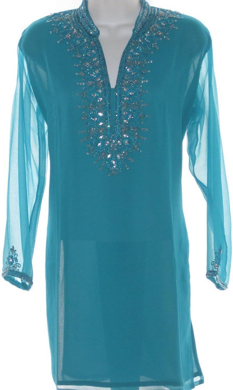 1545 Designs Women's Mandarin Collar Neck Stone Work Dress