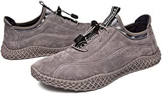 SHENTIANWEI Fashion Sneakers for Men Walking Sport Shoes Elastic Lock Shoelaces Stitch Genuine Leather Round Toe Anti-Slip Lightweight (Color : Gray, Size : 8 UK)