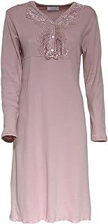 Camicia da notte in caldo cotone Roma di Toscana Lingerie con pizzo R639
