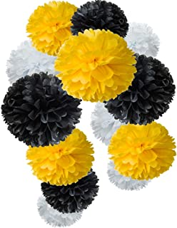black and yellow pom poms