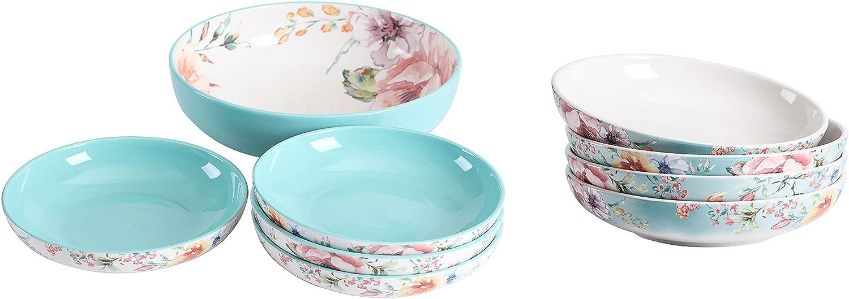 Bico Margret's Garden Discount mail order Ceramic Pasta Bowl 9 1 Detroit Mall Set 214oz unit of