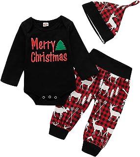 0-12 Meses,SO-buts Recién Nacido Pequeño Bebé Niños Niñas Navidad Carta Casual Tops Pijama Body Mameluco Conjuntos De Pant...