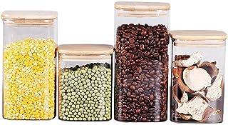 Haucy Lot de 4 Bocaux Conservation Verre Boite Hermetique Alimentaire, Pot Bocal en Verre avec Couvercle Bambou Adapté au ...