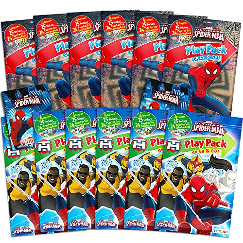 Ultimate Spider-Man Marvel Ultimate Spiderman Party Favors Pack ~ Bundle of 12 Play Packs with Stickers, Coloring Books, and Crayons with Stickers (Ultimate Spiderman Party Supplies)