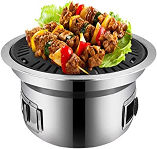Charcoal Grill,Indoor Stainless Steel Barbecue Table Grill with Active Ventilation Portable BBQ Grill Barbecue