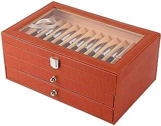 Boîte de rangement en cuir synthétique pour stylos à plume - 24/36 emplacements - Orange