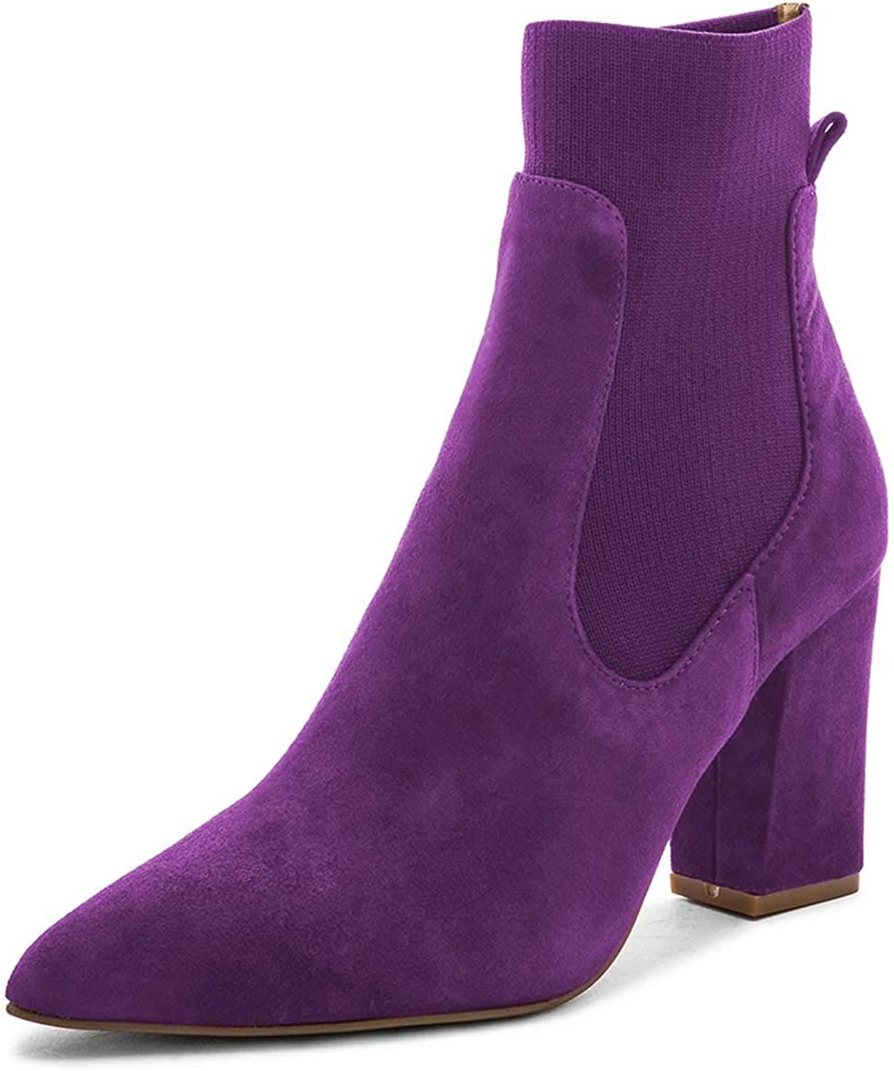 FSJ Women Pointed Toe Chunky High Heel Stretch Pull On Ankle Boots Comfy Winter Booties Size 4-15 US