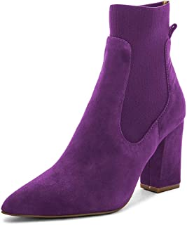0522012608 FSJ Women Pointed Toe Chunky High Heel Stretch Pull On Ankle Boots Comfy  Winter Booties Size