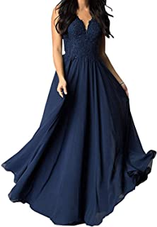 Kign Noiva Women's V Neck Lace Prom Dresses Appliques Chiffon Formal Evening Gowns with Pockets P39