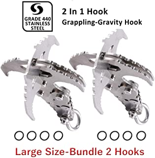 GearOZ Multifunctional Grappling Hook Folding Gravity Hook, Stainless Survival Tools with Serrated Mechanical Claws for Outdoor Survival Hiking Camping Climbing Fishing 2pcs