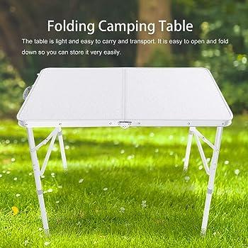 EBTOOLS Mesa Plegable Camping 90 x 70 x 60cm de Aluminio Portátil ...