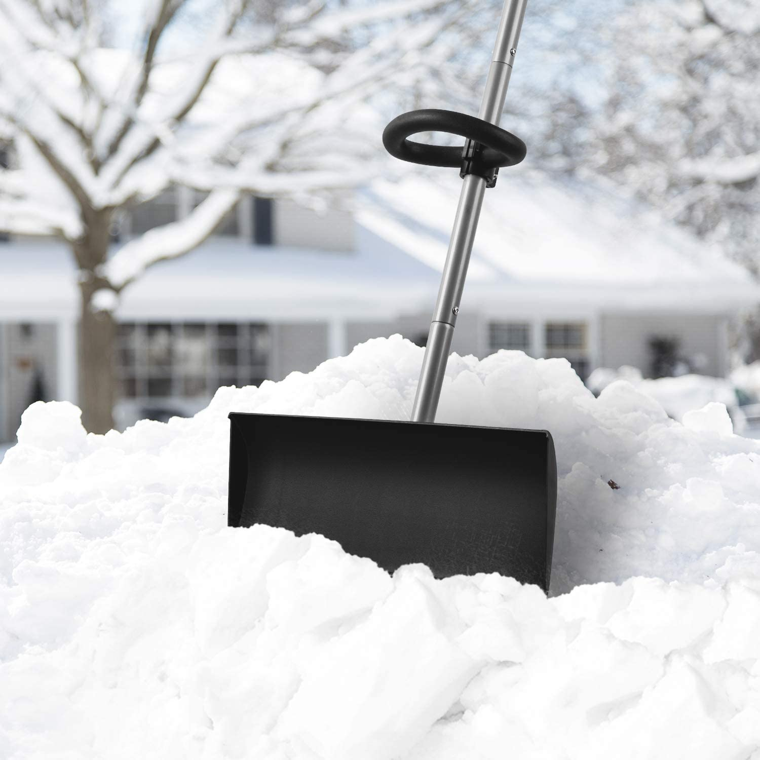 """ORIENTOOLS Snow Shovel with Ergonomic Handle Grips and Strong Blade 20/"""" Blade Strain-Reducing Pusher Perfect for Shoveling or Pushing Snow Soils and Grains."""
