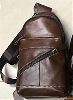 Leather Bag Mens Genuine Leather Breast Bag Men's Cowhide Casual Breathable Soft Leather Can Straddle Men's Bag Obliquely On One Shoulder High Capacity (Color : Coffee, Size : S)
