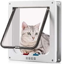 Pujuas - Puerta para Gato con Cierre magnético de 4 vías, Puerta para Mascotas para Gatos y Perros pequeños, Puerta para Gatos con túnel (L, Blanco)