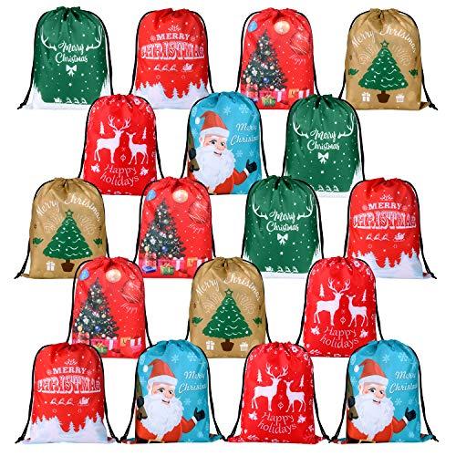 KUUQA 18Pcs Christmas Drawstring Gift Bags Santa Sack Christmas Goody Treats Bags Wrapping Gift Bags Bulk for Christmas Party Favors