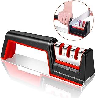 Karrong - Afilador de cuchillos profesional de 3 etapas para cuchillos de cocina con piedra de cerámica, placas de carburo de tungsteno, varillas de diamante