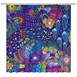 WZFashion Abstract Jellyfish Shower Curtain Creative Bohemia Colorful Under Sea Deep Ocean Animal Coral Fish Tropical Painting Cartoon Kids Art Bath Curtains Fabric with Hook