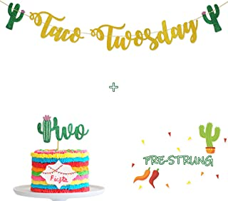 Glamoncha Taco TWOsday Gold Glitter Banner Sign Garland for Mexican Fiesta Themed Birthday Party Decorations