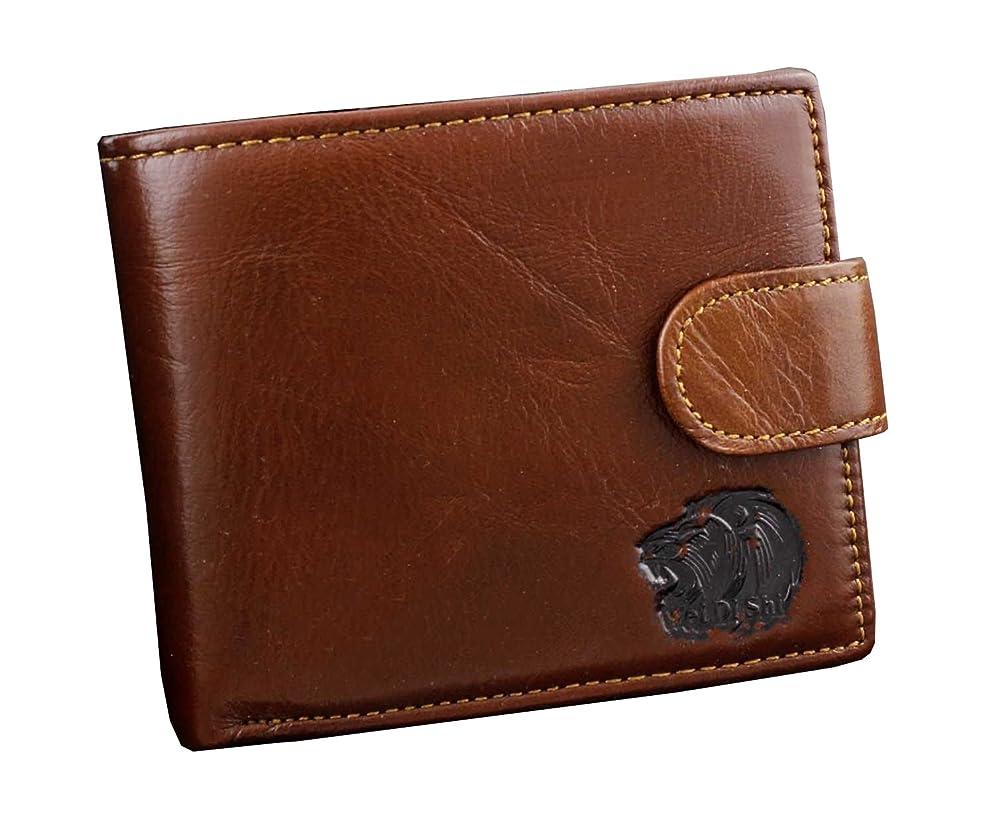 竜巻魅了する直接ライオンヘッドメンズビンテージオイルレザースリム二つ折りIDカードスナップウォレットパスケース付き財布