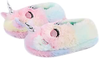 LongBay Boys Girls Cute Animal House Shoes Fuzzy Plush Fleece Slippers with Soft Anti-Skid Sole