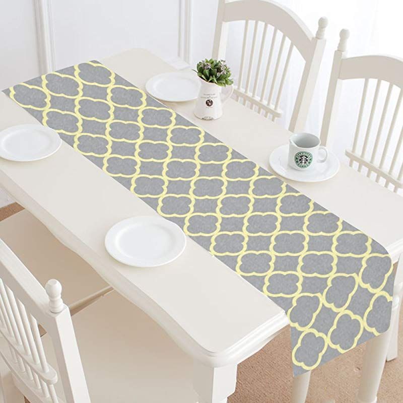 InterestPrint Abstract Gray Yellow Quatrefoil Moroccan Tile Table Runner Cotton Linen Home Decor For Wedding Party Banquet Decoration 16 X 72 Inches