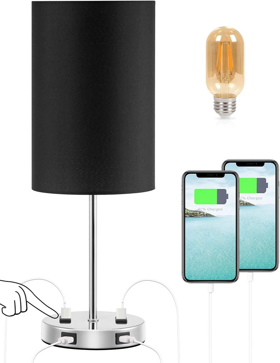 3-Way Dimmable /& 2 USB Charging Ports /& 2 -Pins Outlets for Phones and laptops Acaxin Small End Nighstand Lamps for Bedroom//livingroom Touch Control Bedside Table Desk Lamp LED Bulb Included