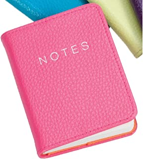 Hot Pink Leather 10cm Notebook by Dulwich Designs